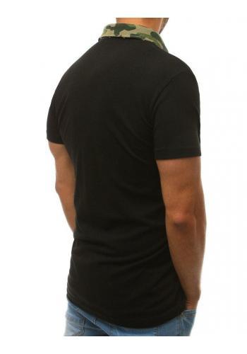 Pánská bavlněná polokošile s maskáčovým límcem v černé barvě