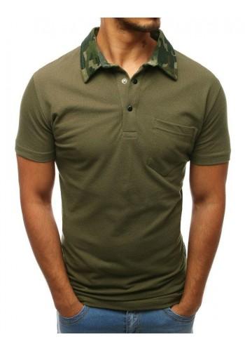 Bavlněná pánská polokošile zelené barvy s maskáčovým límcem