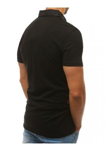Černá módní polokošile s nášivkami pro pány