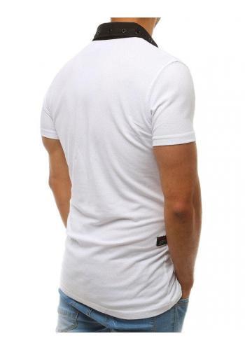 Pánská módní polokošile s nášivkami v bílé barvě