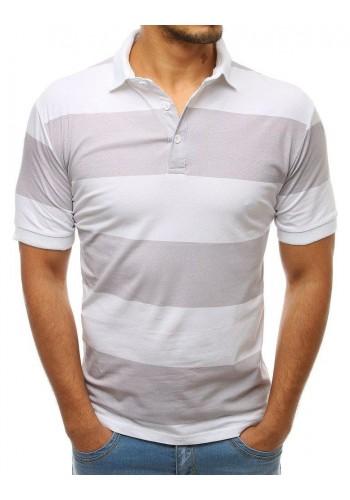 Žíhaná pánská polokošile šedo-bílé barvy