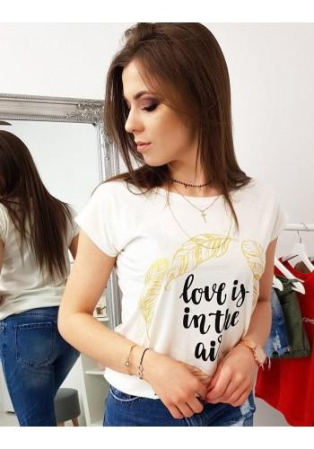 Smetanové módní tričko s potiskem pro dámy