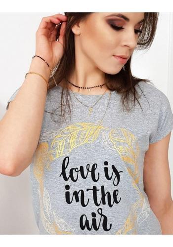Dámské módní tričko s potiskem v světle šedé barvě