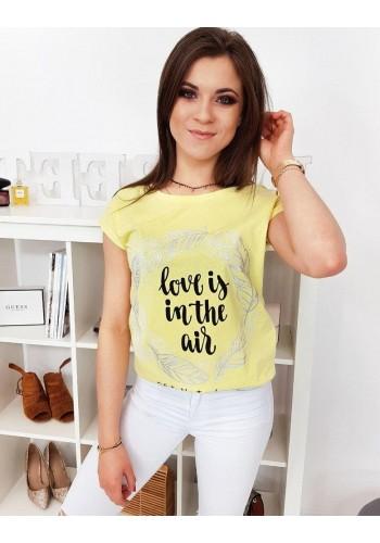 Žluté módní tričko s potiskem pro dámy