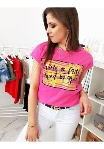 Stylové dámské tričko růžové barvy s potiskem