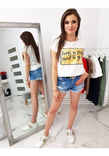 Smetanové stylové tričko s potiskem pro dámy