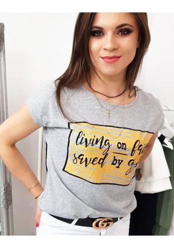Světle šedé stylové tričko s potiskem pro dámy