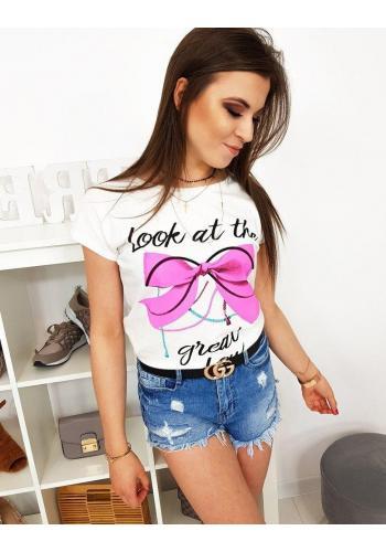 Dámské bavlněné tričko s potiskem v smetanové barvě