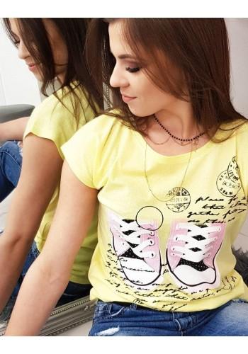 Módní dámské tričko žluté barvy s potiskem
