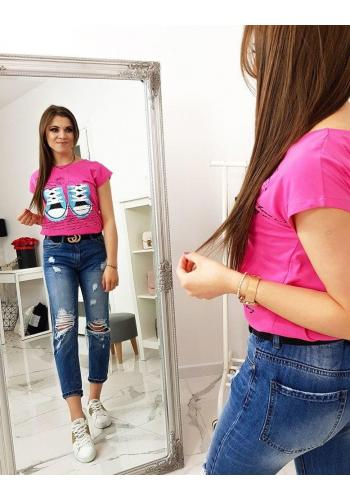 Růžové módní tričko s potiskem pro dámy