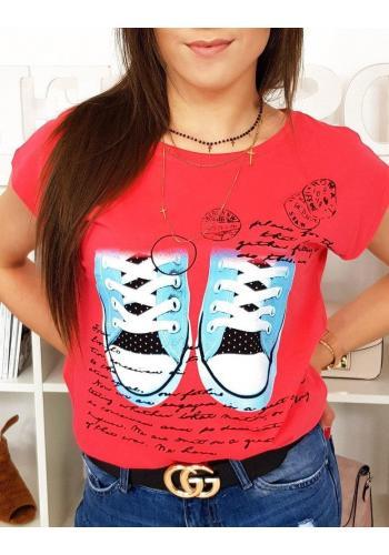 Módní dámské tričko malinové barvy s potiskem