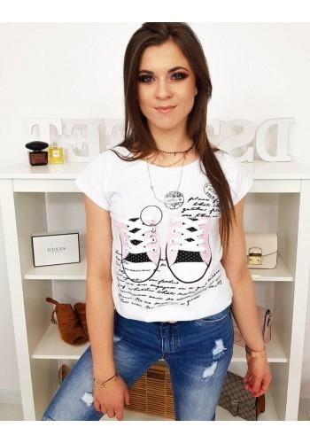 Dámské módní tričko s potiskem v bílé barvě