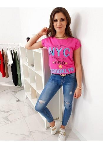Růžové stylové tričko s potiskem pro dámy