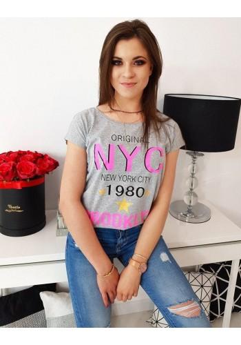 Stylové dámské tričko světle šedé barvy s potiskem