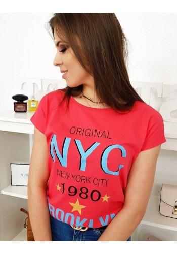 Malinové stylové tričko s potiskem pro dámy