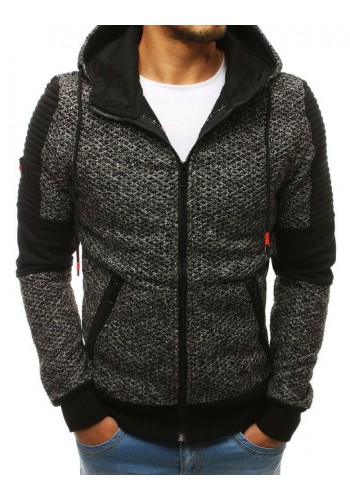 Stylová pánská mikina šedé barvy s kapucí