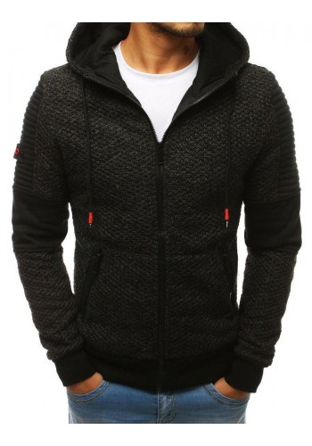 Černá stylová mikina s kapucí pro pány