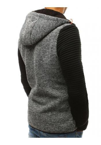Pánská módní mikina s kapucí v šedé barvě