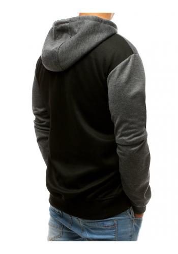 Módní pánská mikina šedo-černé barvy s kapucí