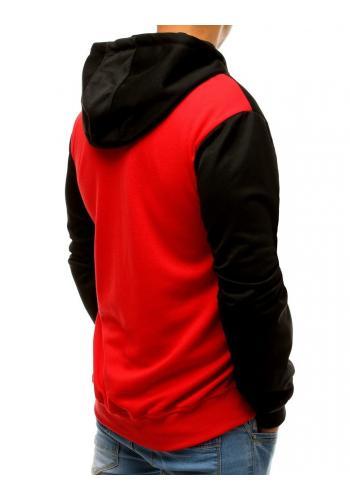 Pánská módní mikina s kapucí v černo-červené barvě