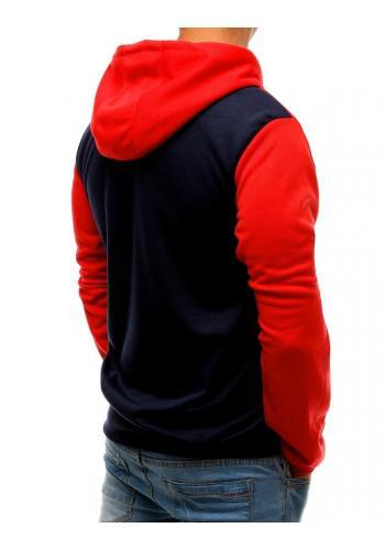 Červeno-modrá módní mikina s kapucí pro pány