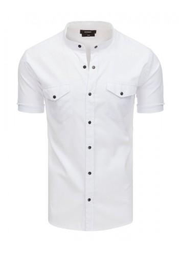 Neformální pánská košile bílé barvy se stojacím límcem