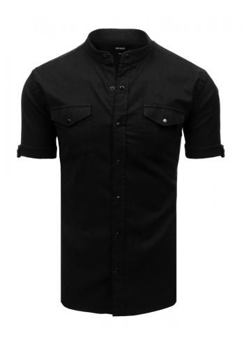 Pánská neformální košile se stojacím límcem v černé barvě