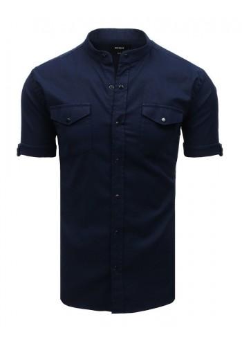 Tmavě modrá neformální košile se stojacím límcem pro pány