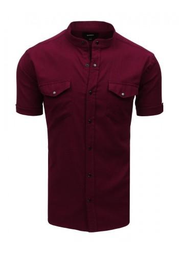 Neformální pánská košile bordové barvy se stojacím límcem