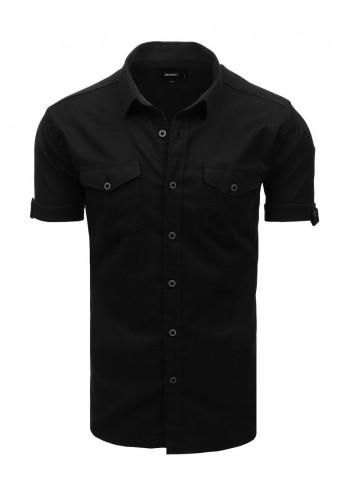 Pánská módní košile s klasickým límečkem v černé barvě