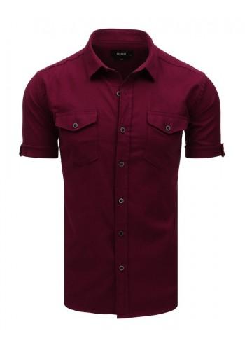 Bordová módní košile s klasickým límečkem pro pány