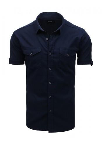 Módní pánská košile tmavě modré barvy s klasickým límcem
