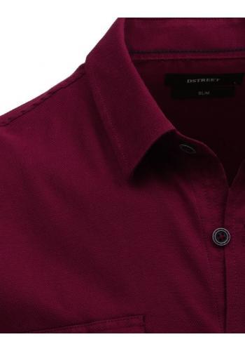 Klasická pánská košile bordové barvy s dlouhým rukávem