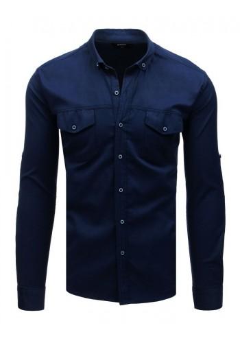 Pánská neformální košile s dlouhým rukávem v tmavě modré barvě