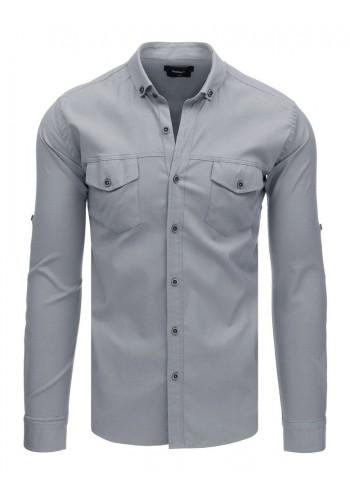 Neformální pánská košile šedé barvy s dlouhým rukávem