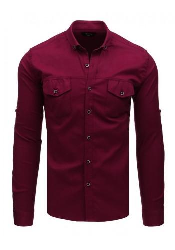 Pánské neformální košile s dlouhým rukávem v bordové barvě