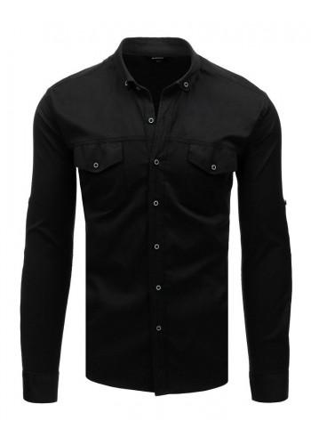 Neformální pánská košile černé barvy s dlouhým rukávem