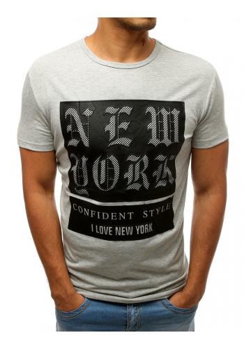 Šedé módní tričko s potiskem pro pány