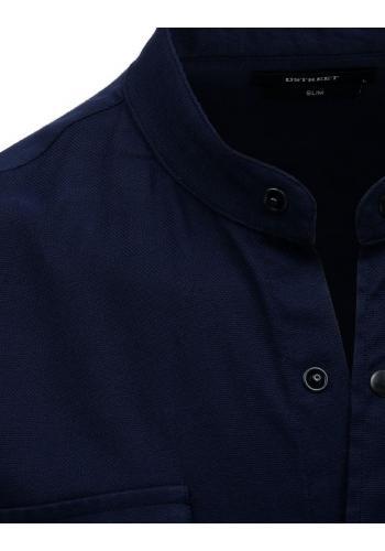 Tmavě modrá módní košile se stojacím límcem pro pány