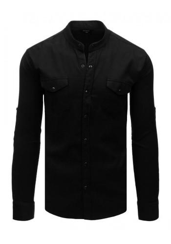 Pánská módní košile se stojacím límcem v černé barvě