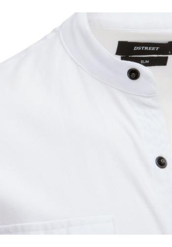 Módní pánská košile bílé barvy se stojacím límcem