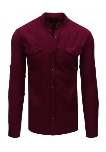 Bordová módní košile se stojacím límcem pro pány