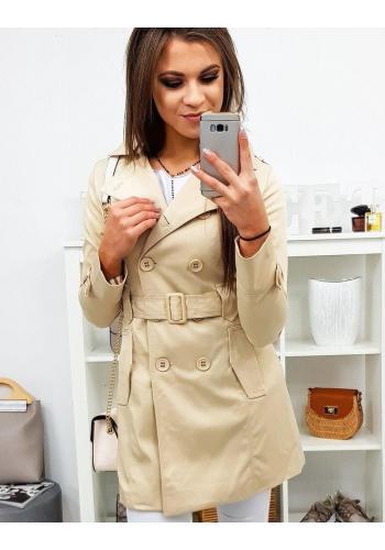Dvouřadý dámský kabát krémové barvy s páskem