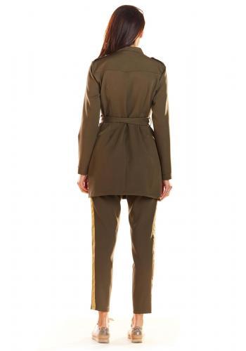 Kaki módní plášť ve vojenském stylu pro dámy