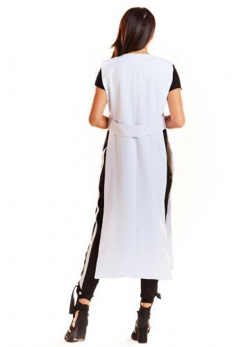 Bílá maxi vesta bez zapínání pro dámy
