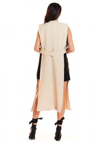 Dámská maxi vesta bez zapínání v béžové barvě