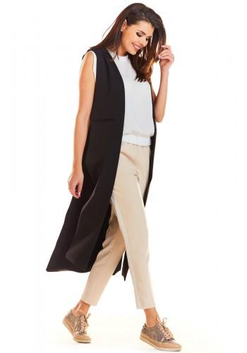 Maxi dámská vesta černé barvy bez zapínání