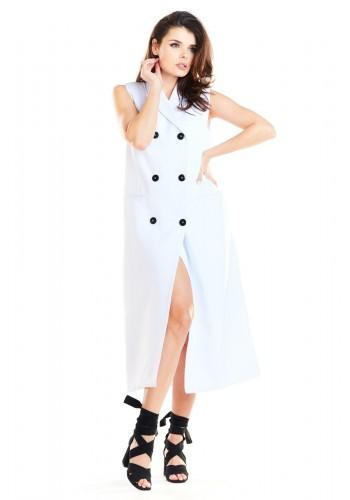 Dámská dlouhá vesta se zapínáním na knoflíky v bílé barvě