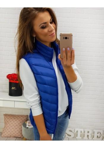 Prošívaná dámská vesta modré barvy bez kapuce