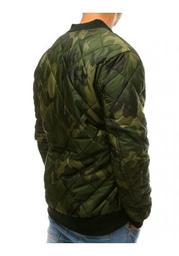Pánská prošívaná bunda s maskáčovým vzorem v kaki barvě